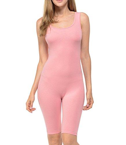 JJJ Women Catsuit Cotton Lycra Tank Bermuda Short Yoga Bodysuit Jumpsuit (1X, Dusty Pink)