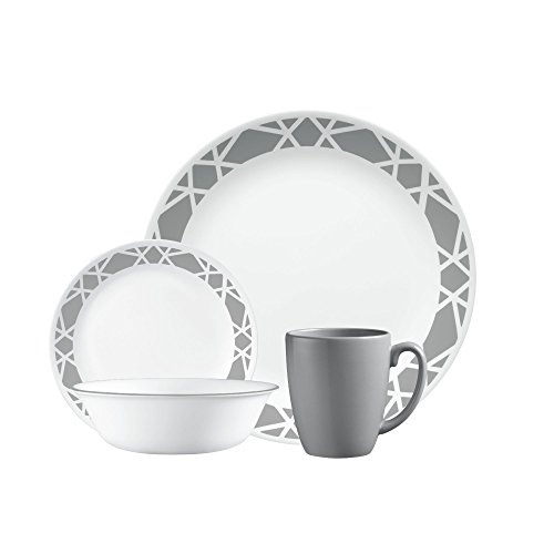 Corelle 1127691 Dinnerware Set, 16 pc Modena, White (Lightweight Dinnerware Sets)