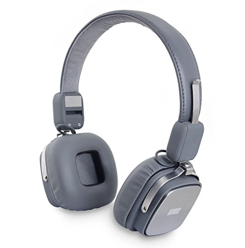 August EP634 - Bluetooth Wireless Stereo Headphones - On Ear Cordless Headphones with 3.5mm Audio In, Rechargeable Battery and Built-in Microphone - (Android / PS3 / iOS / Windows Compatible) (Gray)