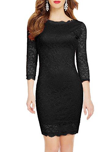 3 4 sleeve black lace dress - 4