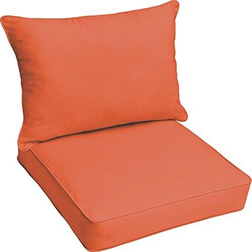 Foam Mandarin (Brayden Studio Reversible Polyester Garden Patio Lounge Chair Foam Pillow Cushion for Indoor/Outdoor Use + Free Ebook (Mandarin Orange))