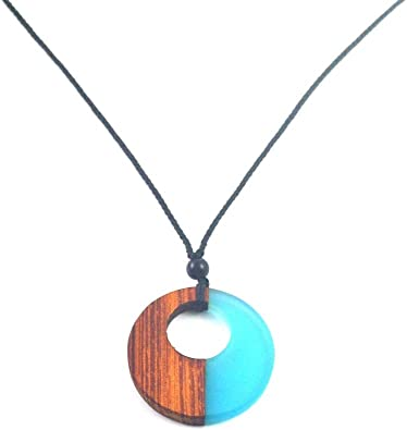 European And American Popular Necklace Pendant Wood Resin Retro Men And Women Jewelry Gift Weaving Rope
