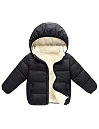 Baby Girls Boys' Fleece Jackets with Detachable Hooded Kids Warm Autumn Winter Coat Outer Clothing Down Jacket