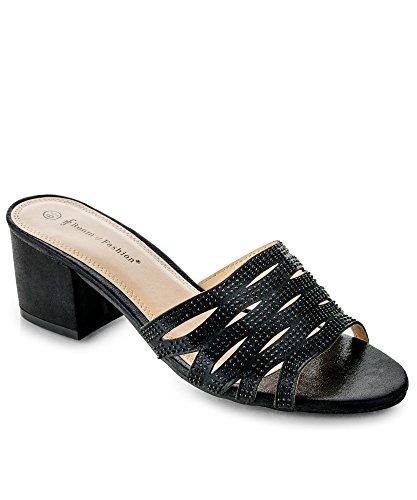 Chunky Heel Slide - RF ROOM OF FASHION Women's Studded Wavy Cutout Slip on Slide - Open Toe Mules - Comfortable Low Chunky Heel Sandals - Trendy Slipper Shoes Black (7)