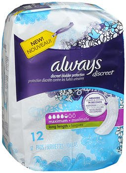 Always Discreet Bladder Protection Pads Maximum Absorbency Long Length - 3 pks of 12, Pack of 6