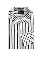 LORD's Men's Striped Regular-Fit Cotton Shirt 16.5 White & Contrast