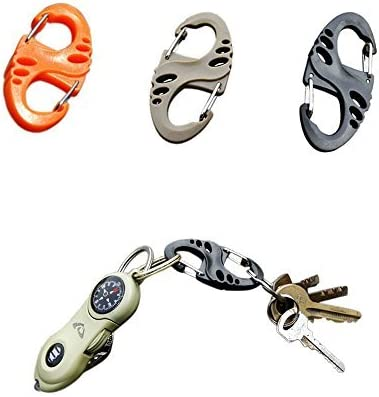 yueton 18 Pcs 50mm Plastic Clip Snap Hook Dual Buckle Keychain For Hiking//Camping//Outdoors Fishing//Backpack Gear