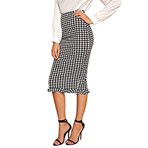 Verdusa Women's Elastic Waist Split Back Ruffled Houndstooth Bodycon Skirt