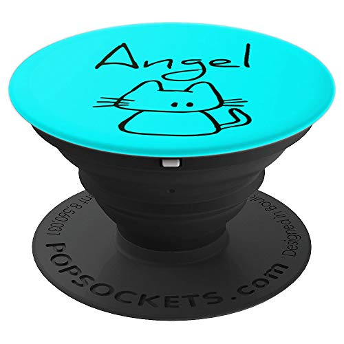 Angel the cat funny gift wow with my cats name on my - PopSockets Grip and Stand for Phones and Tablets