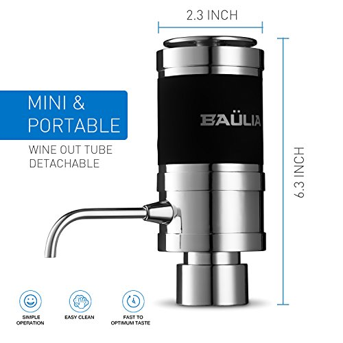 Baulia WA819 Electric Aerator – One Touch Operation Instantly Allow Wine to Breath, Pump Dispenser with Vacuum Sealer, Silver by Baulia (Image #4)