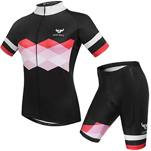 nine bull Cycling Jersey Short Sleeve Women MTB Bike Clothing Road Bicycle Shirts Shorts Padded Pants ()