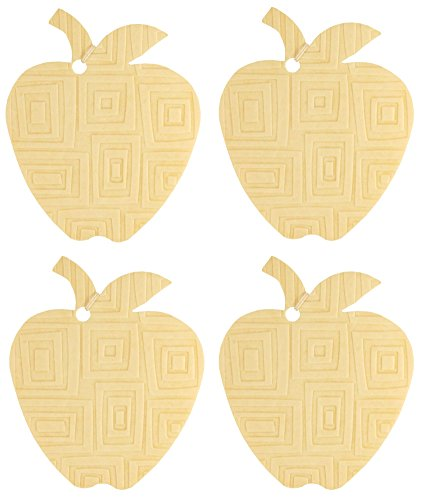 Floral Square Fusion (Set of Four Apple Shaped Air Fresheners With Embossed Mod Square Pattern, Juniper Breeze)