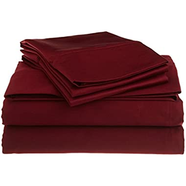 1200 Thread Count Premium Egyptian Cotton, Single Ply, Queen Bed Sheet Set, Solid, Burgundy