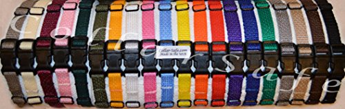 CollarSafe Light Weight Soft Nylon Puppy ID SNAP Buckle Collars - Puppy Identification Litter Whelping Collars (Set of 20) (Nylon Dog Collar Puppy)