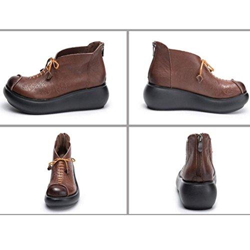 véritable en brown Cuir Bottes imperméable Femmes à Fond Plateforme Lacets à épais BOTXV Retour Hauts Dames Custom l'eau à Folk Chaussures Zip Talons YWCwBgCq8x