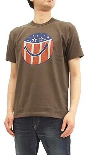 TOYS McCOY Men's Short Sleeve T-Shirt Smiley Face Stars & Stripes Tee TMC1803 Faded Dark Charcoal Japan L (US S-M/UK 36-38) by TOYS McCOY