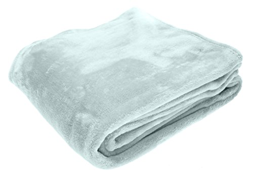 Elle Decor Throw Blanket Made Of Silky Soft, Warm Flannel Plush In Solid Colors, (For Use On Couch, Sofa And Bed), Glacier/Light Aqua, Oversize 60 X 70