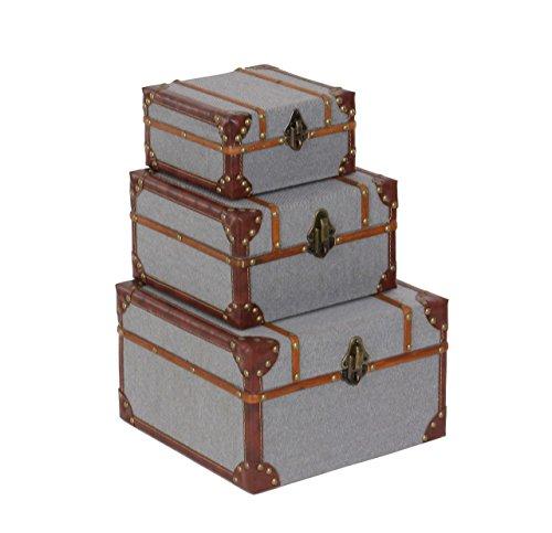 (Deco 79 54070 Wood and Burlap Storage Boxes (Set of 3), 8