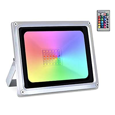 Ankishi 30W RGB LED Flood Lights With Remote Control, 16 Colors 4 Modes RGB Flood Light, IP66 Waterproof Dimmable color changing lights For Indoor Outdoor Decorative Garden Landscape Lighting