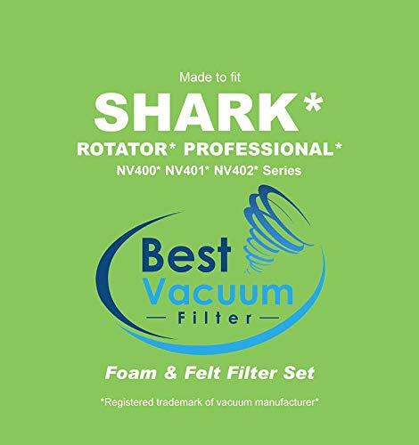 Fits Shark Rotator Professional Models: NV400 NV402 Vacuums Part # Shark XFF400 NV401 Best Vacuum Filter Compatible with Shark Rotator NV400 Foam /& Felt Filter Set
