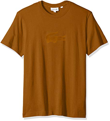 Lacoste Men's Short Sleeve REG FIT Velvet Croc TEE, Dark Renaissance Brown Large