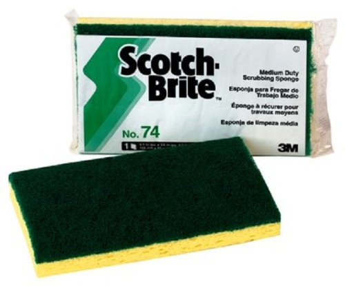 Scotch-Brite 74 Medium Duty Scrub Sponge, 6-3/32'' Length x 3-19/32'' Width x 11/16'' Thick (Case of 20)
