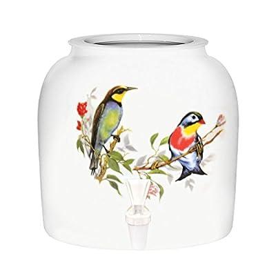"""Tropical Birds"" Porcelain Ceramic Water Dispenser Crock with Faucet"