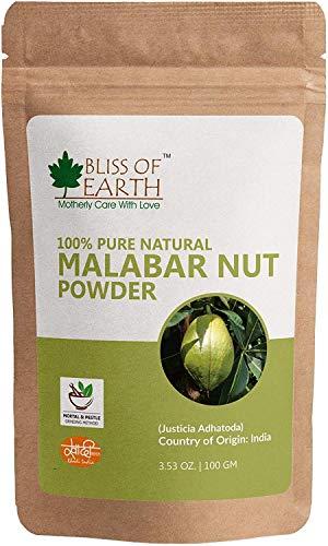 Bliss of Earth Malabar Nut (Justicia adhatoda) Ayurvedic Powder - 100% Pure & Natural 100 GR - Nut Malabar