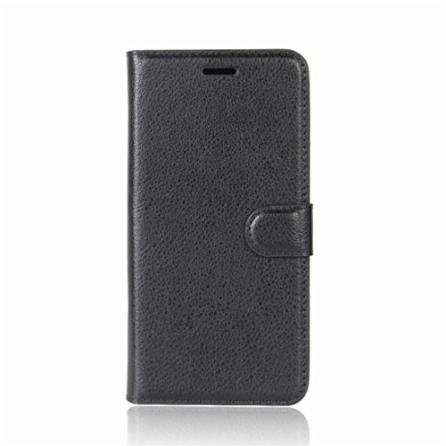 Funda Wiko Tommy 2, Wrcibo Carcasa Case Cuero Premium PU Flip Folio Caja para Wiko Tommy 2 Smartphone (Negro) Negro