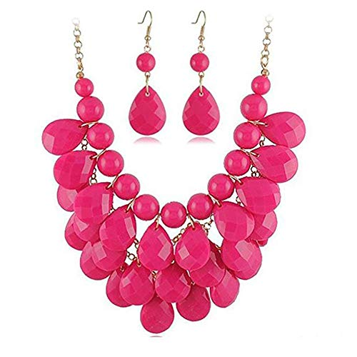 Soficy Fashion Floating Bubble Necklace Teardrop Bib Collar Statement Jewelry for Women
