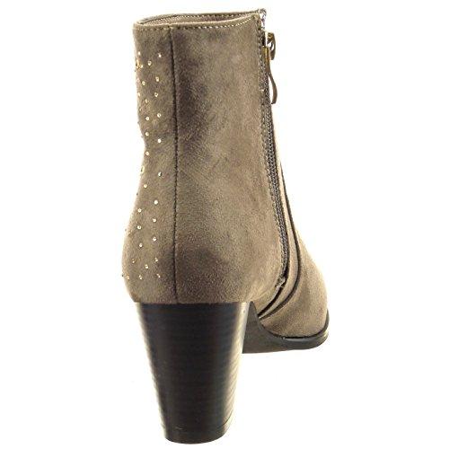 Sopily - Chaussure Mode Bottine Cheville femmes strass diamant Talon haut bloc 6.5 CM - Taupe