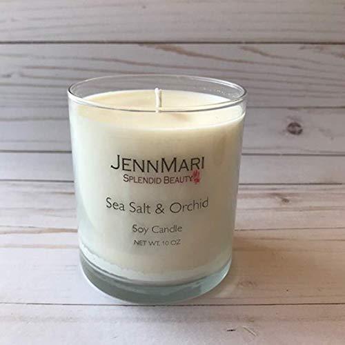 Splendid Beauty | Sea Salt & Orchid Scented Soy Candle Glass Jar | 10 Oz | Handmade | Eco-friendly | Vegan | Cotton Wick | 100% Soy -