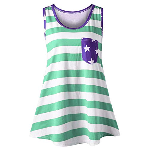 Sunhusing Ladies Summer Casual Sleeveless Patchwork Vest American Flag Print Pockets Bow Decor Tank Top Green