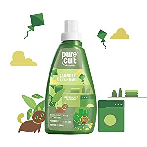 PureCult Liquid Laundry Detergent with Geranium & Lavender Essential Oil -Eco Friendly and Biodegradable-Kids and Pet Friendly – 500ml