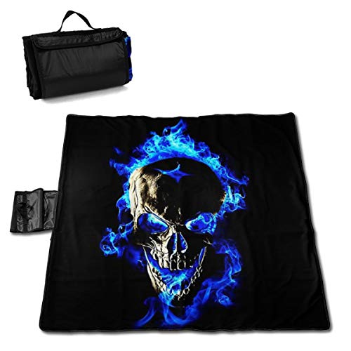 Blue Flame Skull Fire Outdoor Beach Blanket Portable Sand Free Beach Mat for Adults Quick Drying Waterproof Picnic Mat for Travel Camping Hiking Fishing 57