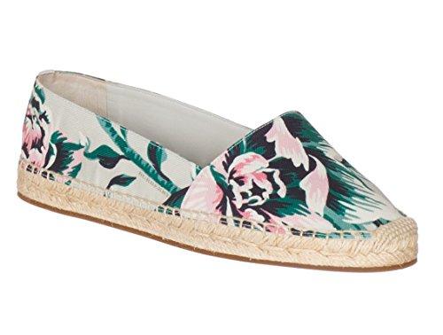 BURBERRY Women's Floral Canvas Brit Hodgeson Espadrille Flats Shoes, Multi-Color, 8