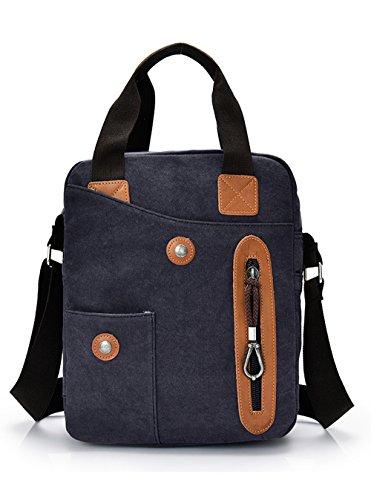 FEEHAN Geschenkset - Handtasche Schultertasche Umhängetasche Wildleder-Imitat Used Look Farbe ,35x28x12 cm, 0.76KG,Unisex Vintage Umhängetasche Leder schwarz