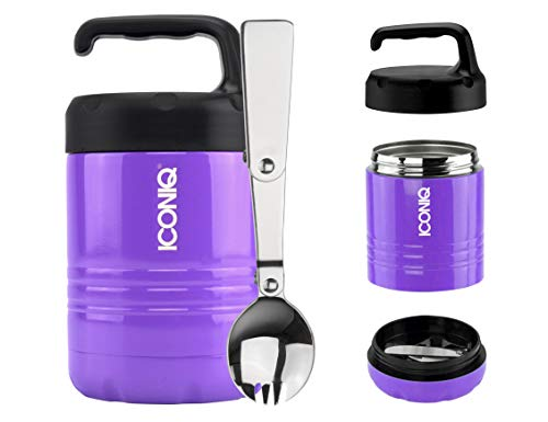 ICONIQ Qore Stackable Stainless Steel Insulated Food Jar with Fold-Out Spork (10 ounce | Purple)