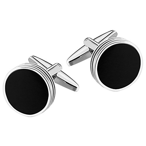 Mens Cufflinks Stainless Steel Circle Spiral Black 1.5X1.5CM Dad Unique Jewelry Box Elegant Aooaz (Pearl Cufflinks Circle Design)