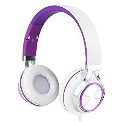 Intone-Ms200-Stereo-Low-Bass-Folding-and-Adjustable-Headphone-Earbuds---White---Purple
