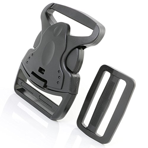 Six 2-inch Plastic Side Release Buckles - By Q-Buckles - One Handed Quick Release and Snap into Place - Includes Six Strong Triglide Adjustment Clips
