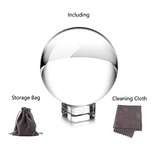 JIHUI Crystal Ball Photography Lensball, K9 Crystal Ball Clear 3-1/5'' (80mm) with Crystal Stand and Pouch for Decorative Photography Prop by JIHUI (Image #2)