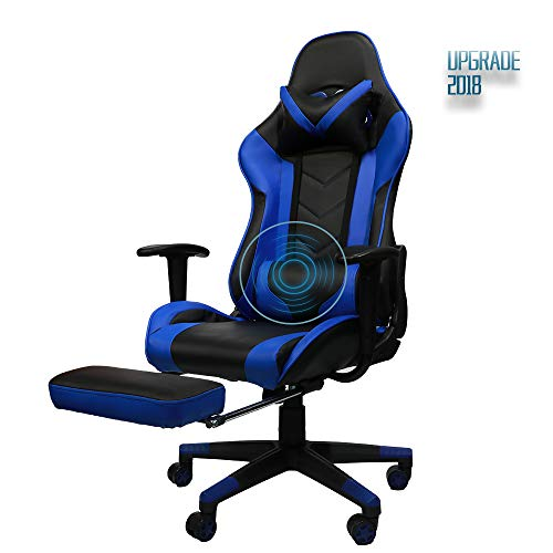 Insoria Gaming Chair Ergonomic High-Back Racing Chair Pu Leather Bucket Seat,Computer Swivel Office Chair Headrest and Lumbar Massage Support Executive Desk Chair with Footrest (Blue)