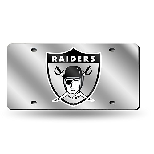 Rico Industries NFL Oakland Raiders Retro Laser Inlaid Metal License Plate Tag, - Oakland Laser Raiders Silver