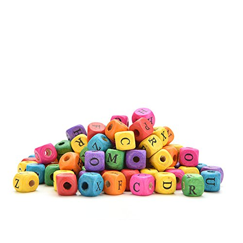 "JETTINGBUY Beads, 500 Pcs Mixed Alphabet Letter ""A-Z"" Cube Wood Beads"
