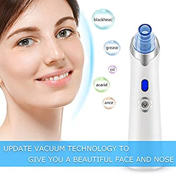 Fuzhoutuogu Blackhead Remover Pore Vacuum – USB Rechargeable Blackhead Suction Tool with LED Display for Facial Skin Blue