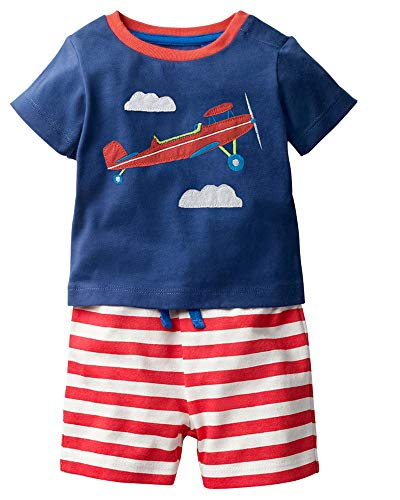 Boutique Clothes For Boys (Toddler Boys Cotton Clothing Sets Short Sleeve Tee and Shorts Airplane)