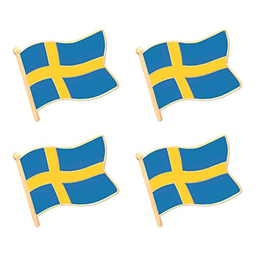 ALEY Swedish Sweden Flag Lapel Pin Decorations (4 Pack)