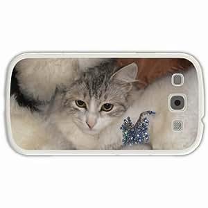 Customized Samsung Galaxy S3 SIII 9300 Hard Shell Cover Case Diy Personalized Designcap fur coat beautiful pin brilliant White