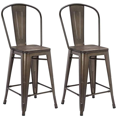 MELLCOM 24 Inch Bar Stools with Bucket Back,Indoor Outdoor Counter Height Stool,Metal Bar Chairs-Set of 4 (Set of 4) (Backs With Stools Bar Outside)